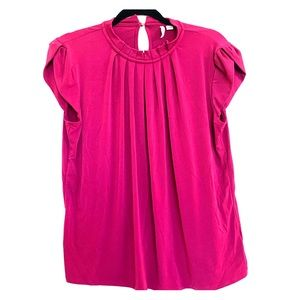 NWOT Elle Raspberry Top with Pleated Neckline